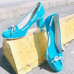 Sperry Turquoise Patented Leather Pumps | 9